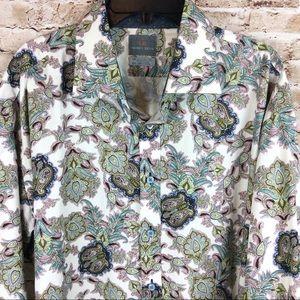 Thomas Dean Flip Cuff Button Down Paisley Shirt 3X